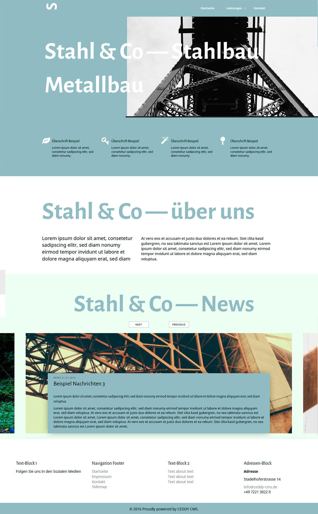 Responsive Webdesign für Stahlbau und Metallbau Homepage